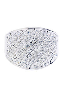 Silver-Tone Crystal Curved Ring