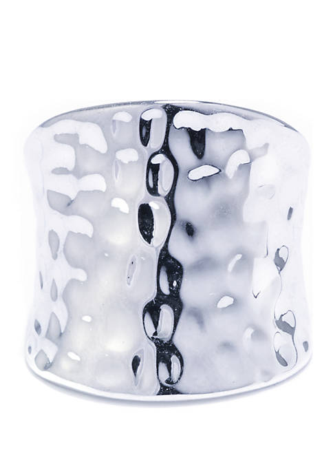 Silver-Plated Hammered Wide Ring