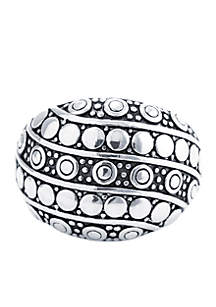 Silver Abstract Beaded Texture Statement Ring