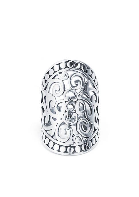 Belk Silverworks Silver-Plate Oval Filigree Ring