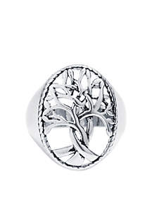 Silver Open Tree Of Life Statement Ring