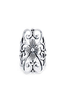 Silver Plated Filigree Flower Statement Ring