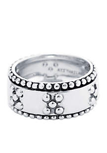 Silver Plated Beaded Band Ring