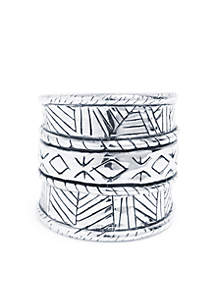Silver Plated Geometric Statement Ring