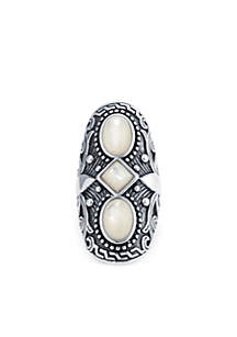 Silver-Tone Oxidized Oval Ring