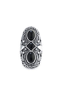 Silver-Tone Onyx Oval Ring