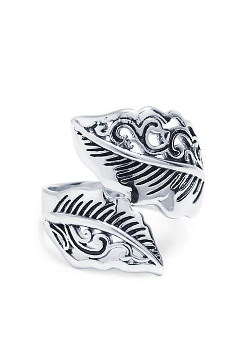 Belk Silverworks Silver-Tone Filigree Leaf Bypass Ring