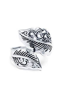 Silver-Tone Filigree Leaf Bypass Ring