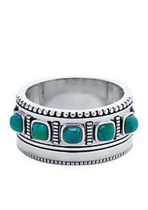 Belk Silverworks Silver-Tone Beaded Border Band Ring