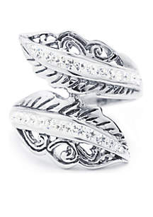 Belk Silverworks Fine Silver Plated Crystal Pave Bypass Bali Leaf Novelty Ring