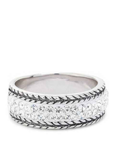 Belk Silverworks Fine Silver Plated Crystal Bali Edge