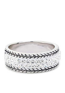 Fine Silver Plated Crystal Bali Edge Ring