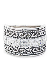 Belk Silverworks Fine Silver Plated Crystal Pave Bali Wide Band Fashion Ring