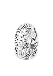 Belk Silverworks Fine Silver Plated Crystal Pave Bali Knuckle Fashion Ring