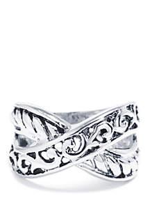 Belk Silverworks Silver-Plated Filigree Crossover Ring