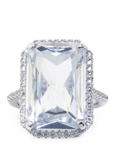 Belk Silverworks Size 7 Fine Silver Plated Emerald