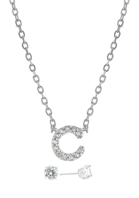 """Boxed Sterling Silver 5 Millimeter Cubic Zirconia Stud and 18 Inch Cubic Zirconia Initial """"C"""" Necklace Set"""