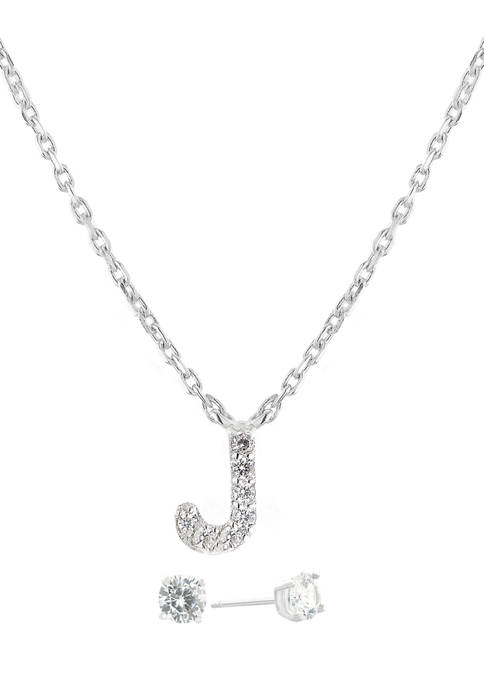 """Boxed Sterling Silver 5 Millimeter Cubic Zirconia Stud and 18 Inch Cubic Zirconia Initial """"J"""" Necklace Set"""