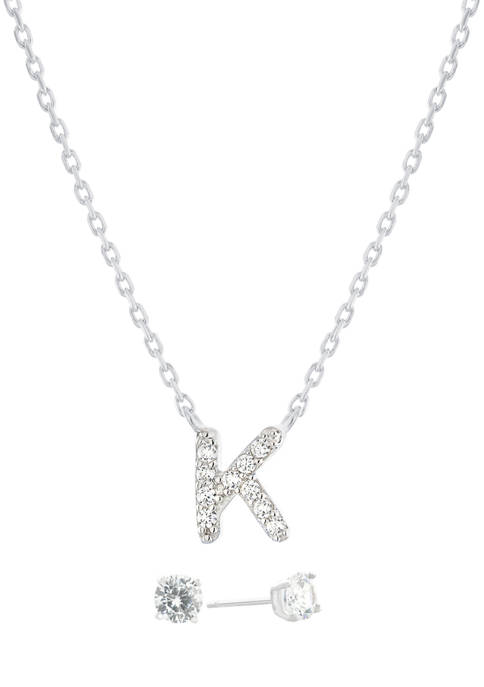 """Boxed Sterling Silver 5 Millimeter Cubic Zirconia Stud and 18 Inch Cubic Zirconia Initial """"K"""" Necklace Set"""
