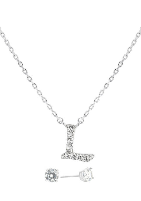 """Boxed Sterling Silver 5 Millimeter Cubic Zirconia Stud and 18 Inch Cubic Zirconia Initial """"L"""" Necklace Set"""