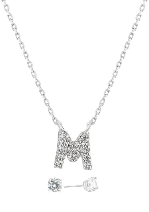 """Boxed Sterling Silver 5 Millimeter Cubic Zirconia Stud and 18 Inch Cubic Zirconia Initial """"M"""" Necklace Set"""