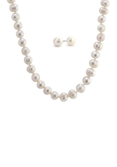 Belk Silverworks Boxed Sterling Silver 7 Millimeter Pearl