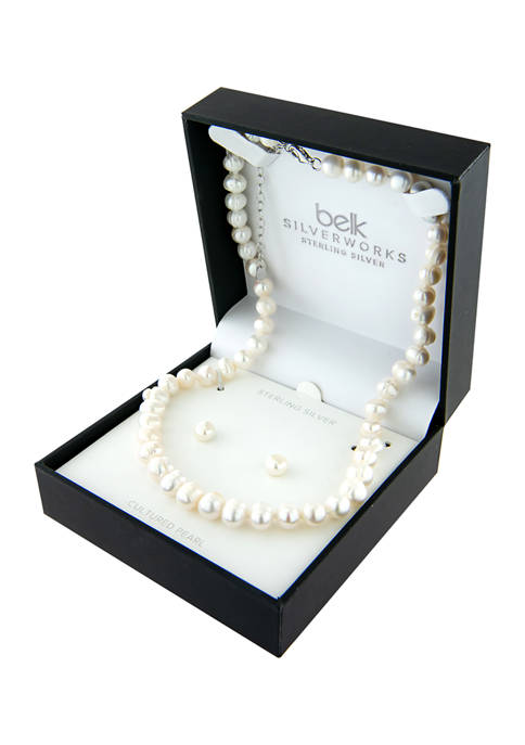 Belk Silverworks Sterling Silver Pearl Necklace and 7