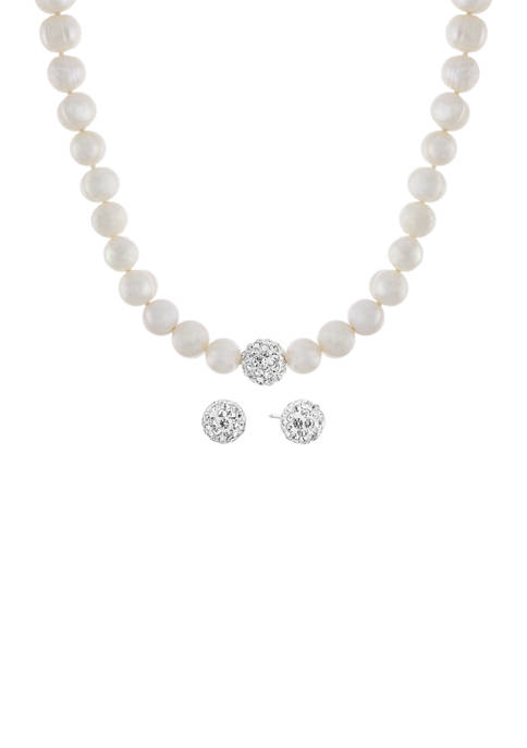 Boxed Sterling Silver Pearl Necklace and 0.89 Millimeter Crystal Studs Set
