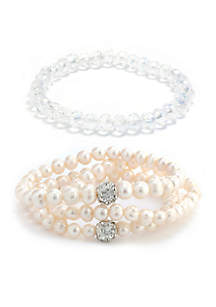 Sterling Silver Crystal and Pearl Ball Bracelet Set