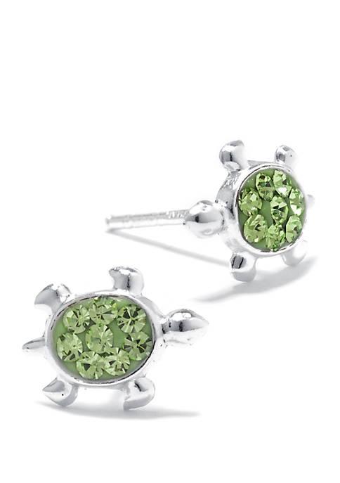 Sterling Silver Green Crystal Pavé Turtle Stud Earrings