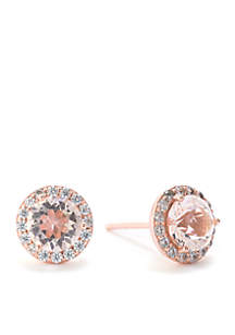 Rose Gold Over Sterling Silver Swarovski Crystal Cubic Zirconia Halo Stud Earrings