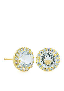 Gold-Tone Cubic Zirconia Halo Stud Earrings
