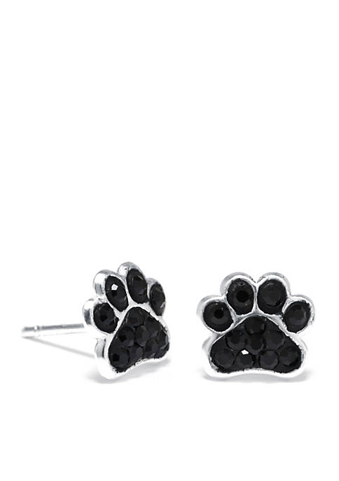 Sterling Silver Pave Crystal Dog Paw Stud Earrings