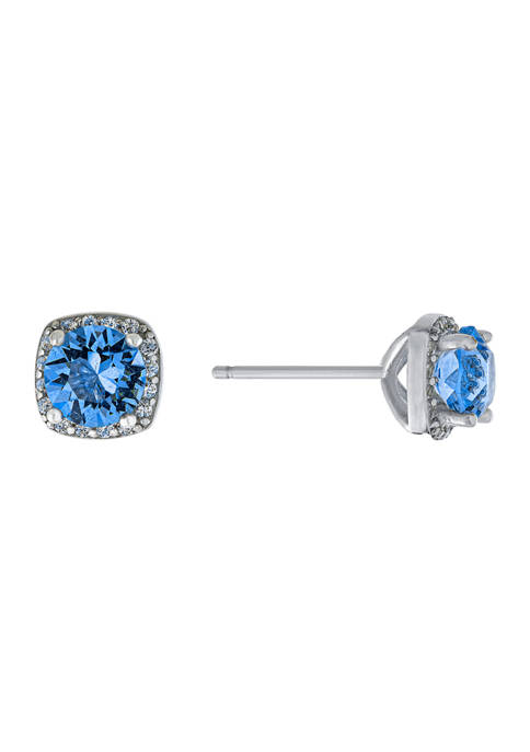 Boxed Sterling Silver Blue Austrian Crystal  Pavé Halo Stud Earrings