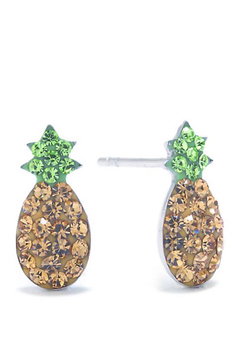Sterling Silver Crystal Pavé Pineapple Stud Earrings