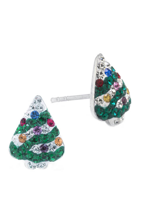 Belk Silverworks Boxed Sterling Silver Crystal Pave Christmas