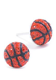 Belk Silverworks Sterling Silver Crystal Pave Basketball Stud Earrings