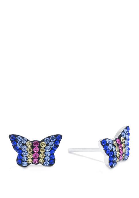 Belk Silverworks Sterling Silver Cry Butterfly Stud Earrings