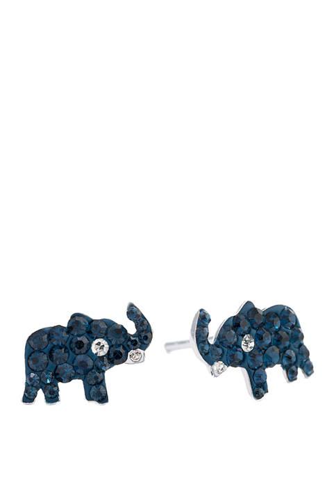 Belk Silverworks Sterling Silver Crystal Elephant Stud Earrings