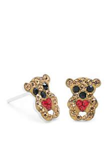 Sterling Silver Teddy Bear Stud Earrings