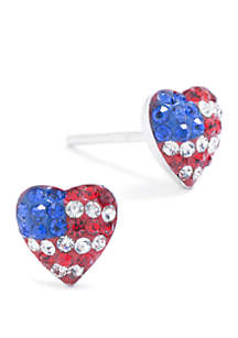 Belk Silverworks Sterling Silver Red, White, and Blue Pave USA Heart Stud Earrings