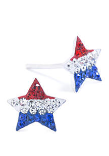 Belk Silverworks Sterling Silver Red, White and Blue Pave Crystal Star Stud Earrings