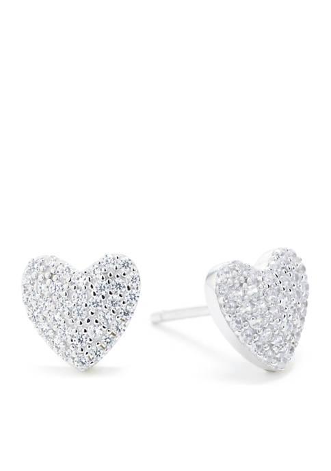Sterling Silver Pave Look Of Real Heat Stud Earrings