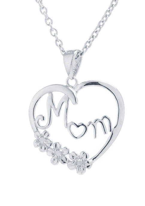 Sterling Silver Mom Cubic Zirconia Heart Pendant Necklace