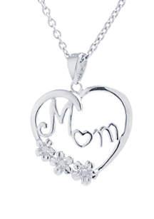 Belk Silverworks Sterling Silver Mom Cubic Zirconia Heart Pendant Necklace