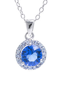 Sterling Silver 6 MM Blue Swarovski Crystal and Cubic Zirconia Halo Pendant Necklace