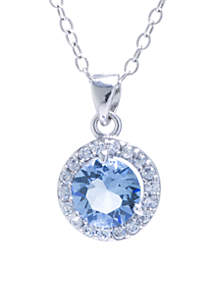 Sterling Silver 6 MM Light Blue Swarovski Crystal and Cubic Zirconia Halo Pendant Necklace