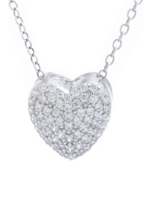 Sterling Silver Pave Look Of Real Heart Pendant Necklace
