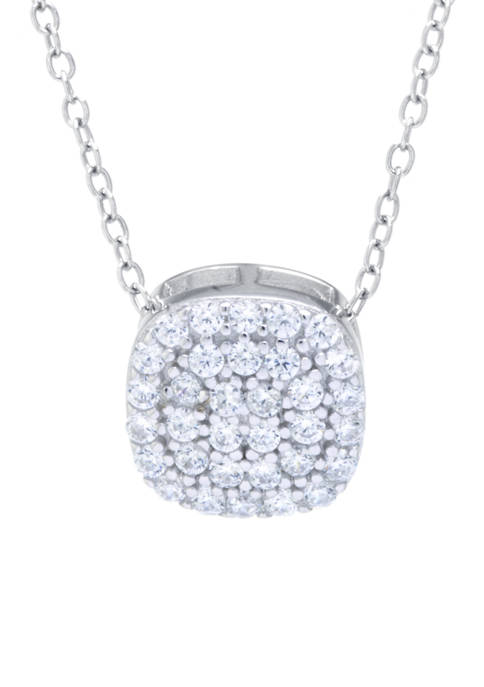 Boxed Sterling Silver Cubic Zirconia Square Pendant Necklace