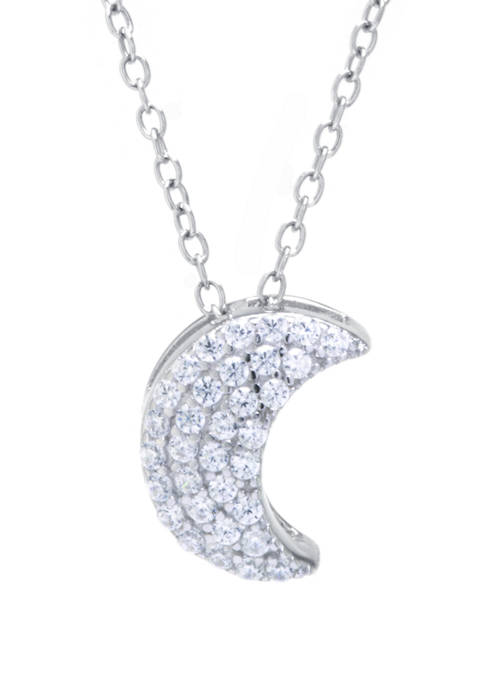 Boxed Sterling Silver Cubic Zirconia Moon Pendant Necklace